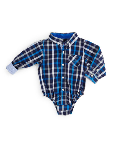 Long-Sleeve Plaid Cotton Shirtzie™, Blue, Size 6-24 Months