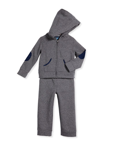 Cotton Two-Piece Track Suit, Gray, Size 6-24 Months