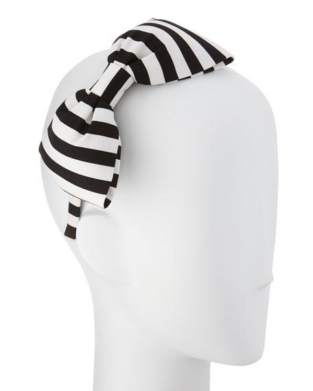girls' large striped bow headband, black/cram