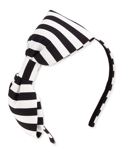 girls' large striped bow headband, black/cram