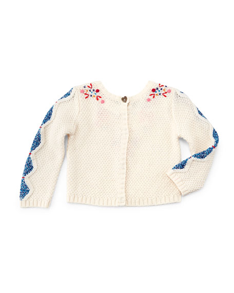 Long-Sleeve Embroidered Crochet Sweater, Ivory, Size 3-6