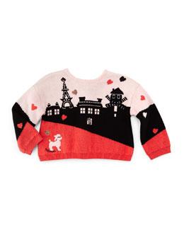 Long-Sleeve Paris Intarsia-Knit Sweater, Pink/Black, Size 6M-2