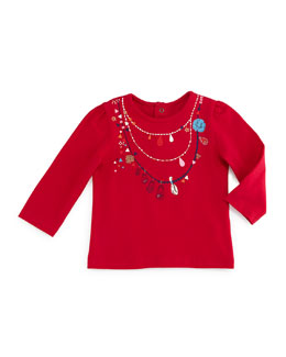 Long-Sleeve Necklace-Print Jersey Tee, Fuchsia, Size 6M-2