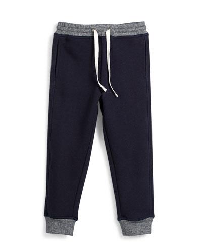 Terry-Lined Colorblock Sweatpants, Coastal, Size 2-7