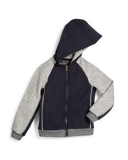 Hooded Colorblock Zip-Front Sweatshirt, Coastal, Size 2-7