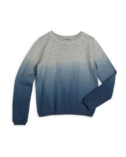Ombre Crewneck Sweater, Steel, Size 2-7