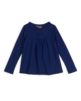 Long-Sleeve Pleated-Front Top, Blue Marine, Size 2-6
