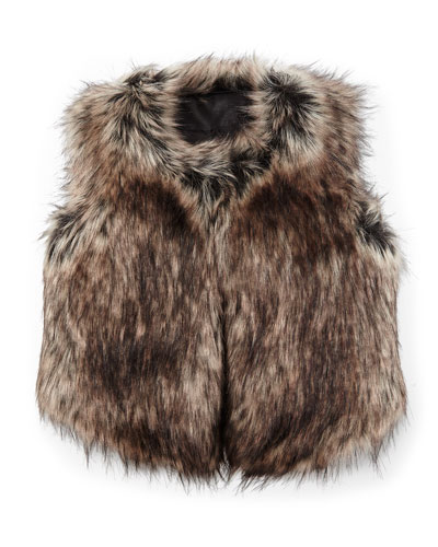 Faux-Fur Vest, Black/Tan, Size S-XL