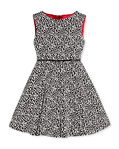 Anniversary Sleeveless Tile-Print A-Line Dress, Black/Ivory, Size 7-14