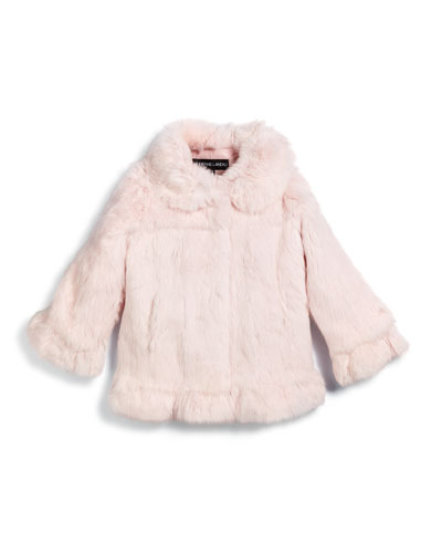 Button-Front Rabbit-Fur Coat, Pink, Size 2-16