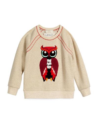 raglan owl pullover sweatshirt, oatmeal heather, size s-xl
