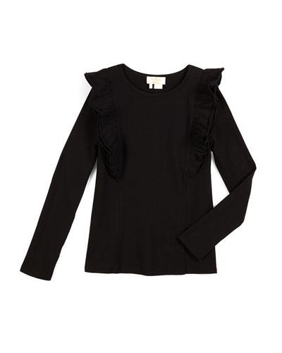 long-sleeve ruffle top, black, size s-xl