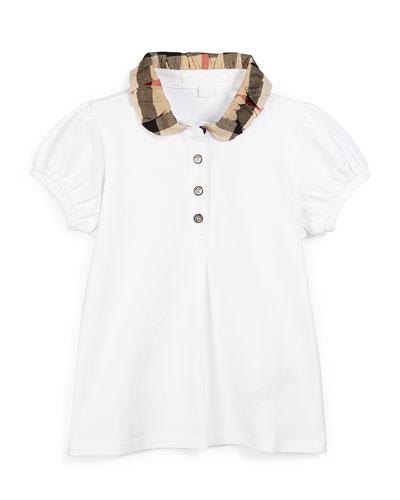 Check-Collar Pique Polo Shirt, White, Size 4-14