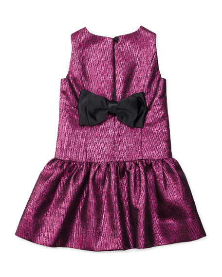 Sleeveless Metallic-Jacquard Party Dress, Fuchsia, Size 4-7