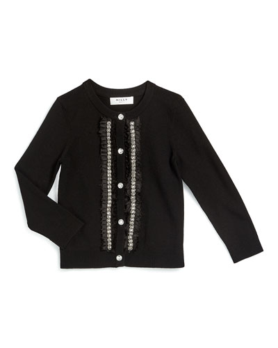 Embellished Button-Front Cardigan, Black, Size 4-7