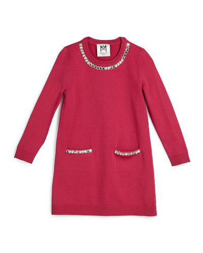 Embellished Long-Sleeve Sweaterdress, Raspberry, Size 4-7