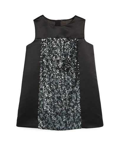 Sleeveless Sequin Shift Dress, Black, Size 8-14