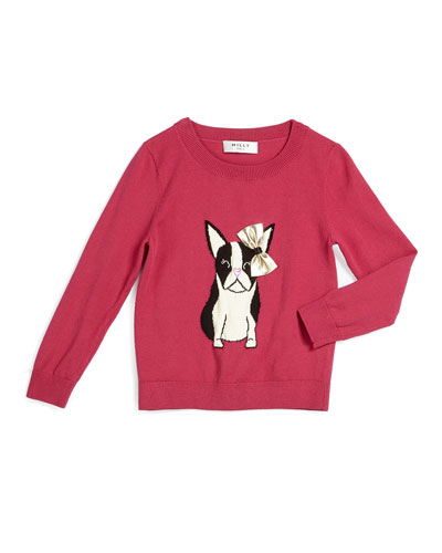 Bulldog Crewneck Pullover Sweater, Raspberry, 8-14