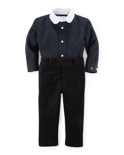 Tartan Plaid Shirt & Velour Pants, Navy/Black, Size 9-24 Months