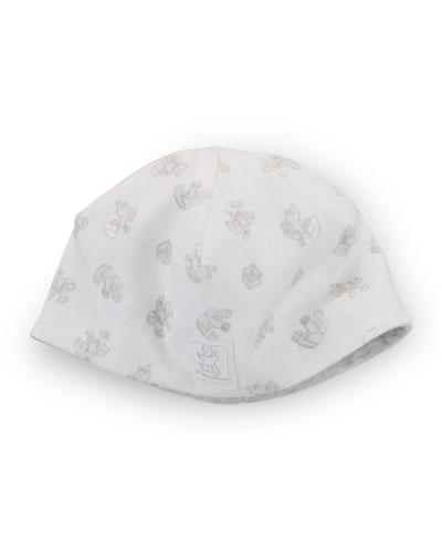 Printed Baby Beanie, Paper White