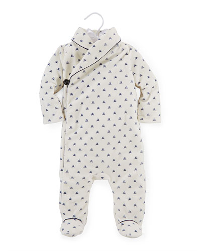 Reindeer Velour Footie Pajamas, Warm White/Navy, Size 3-9 Months