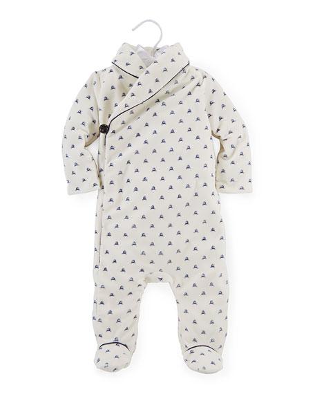 ab3e434c2 Ralph Lauren Childrenswear Reindeer Velour Footie Pajamas, Warm White/Navy,  Size 3-9 Months