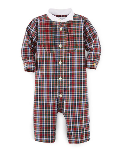 Plaid Poplin Coverall, Red/White, Size 3-12 Months
