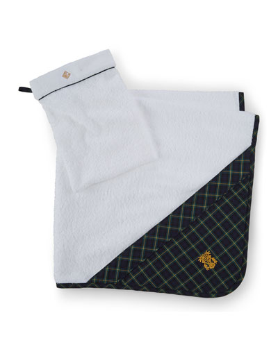 Hooded Plaid-Trim Towel, White/Navy