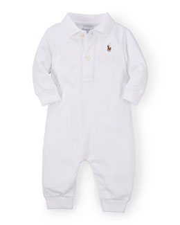 Long-Sleeve Pima Polo Coverall, White, Size 3-12 Months