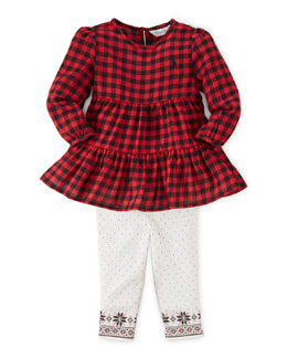 Long-Sleeve Tiered Plaid Dress & Leggings, Red/Black, Size 9-24 Months