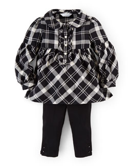 Long-Sleeve Plaid Twill Dress & Leggings, Black/Cream, Size 9-24 Months