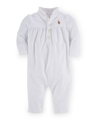 Long-Sleeve Pima Ruffle-Trim Coverall, White, Size 3-12 Months