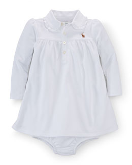 Long-Sleeve Pima Polo Dress & Bloomers, White, Size 9-24 Months