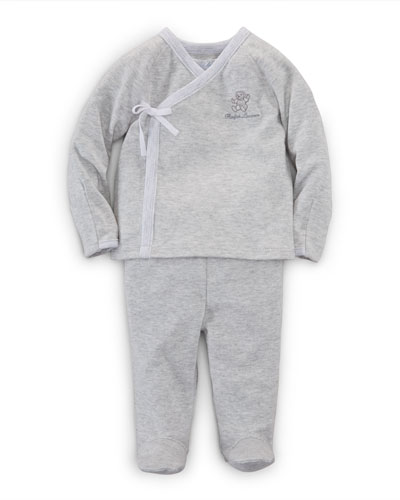 Long-Sleeve Surplice Top & Footed Pants, Quartz Heather, Size Newborn-9 Months