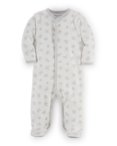 Teddy Bear Footie Pajamas, White, Size Newborn-9 Months