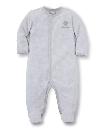 Long-Sleeve Striped Footie Pajamas, Quartz Heather, Size Newborn-9 Months