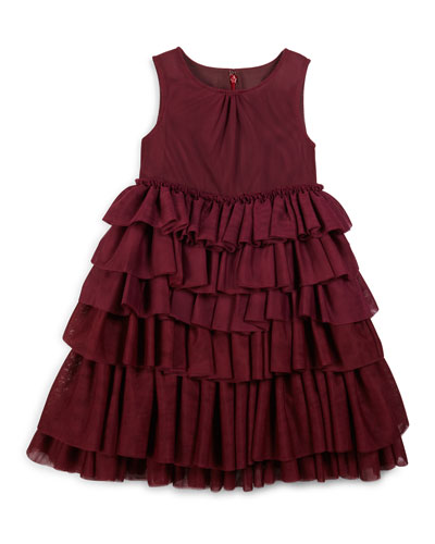 Anjie Sleeveless Tiered Ruffle Dress, Burgundy, Size 4-14