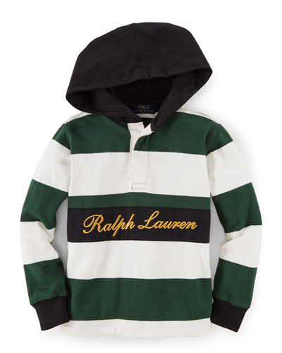 Striped Hooded Lightweight Sweatshirt, Size 2-7