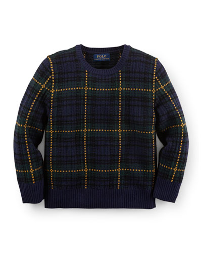 Plaid Wool-Blend Pullover Cardigan, Navy, Size 2-7