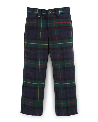 Tartan Plaid Slim-Fit Pants, Navy, Size 2-7