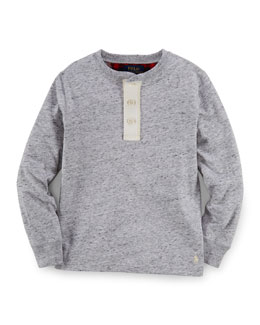 Long-Sleeve Thermal-Knit Henley Tee, Size 2-7