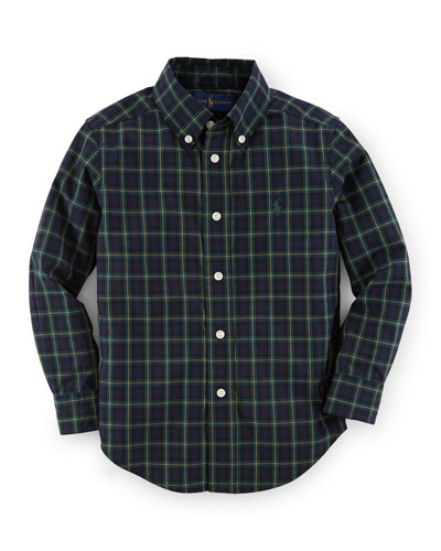 Plaid Custom-Fit Poplin Shirt, Size 2-7