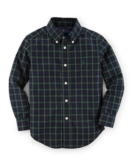 Plaid Custom-Fit Poplin Shirt, Size 2-7