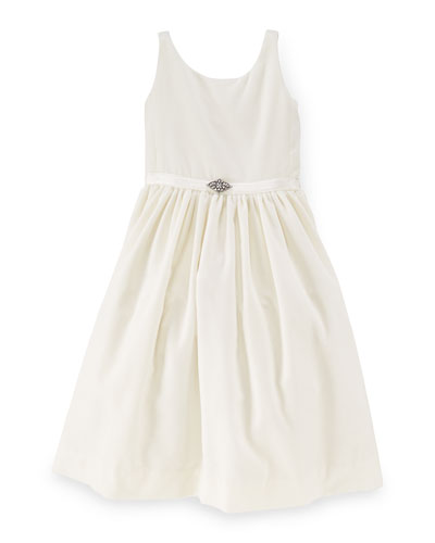 Sleeveless Velvet A-Line Dress, Warm White, Size 2-6X