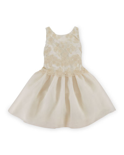 Sleeveless Lace & Satin Combo Dress, Sandtrap, Size 2-6X