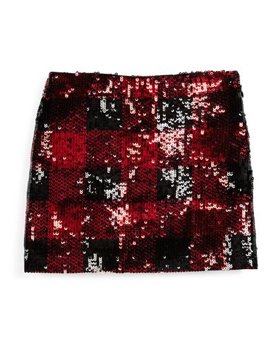 Plaid Sequin Skirt, Red/Black, Size 5-6X