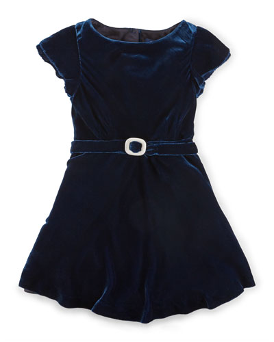 Cap-Sleeve Velvet A-Line Dress, Jewel Blue, Size 2-6X