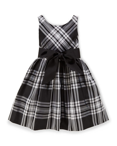 Sleeveless Plaid Taffeta Dress, Black/Cream, Size 2-6X
