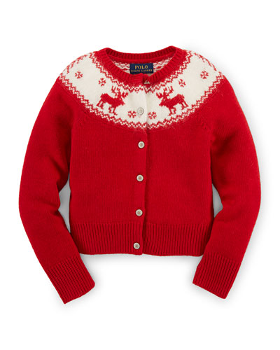 Long-Sleeve Reindeer Cardigan, Cruise Red, Size 2-6X
