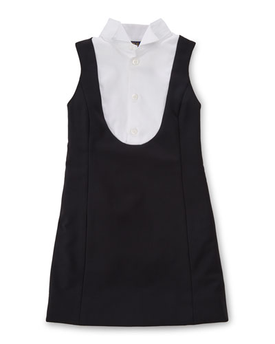 Sleeveless Crepe Tuxedo Dress, Black, Size 2-6X